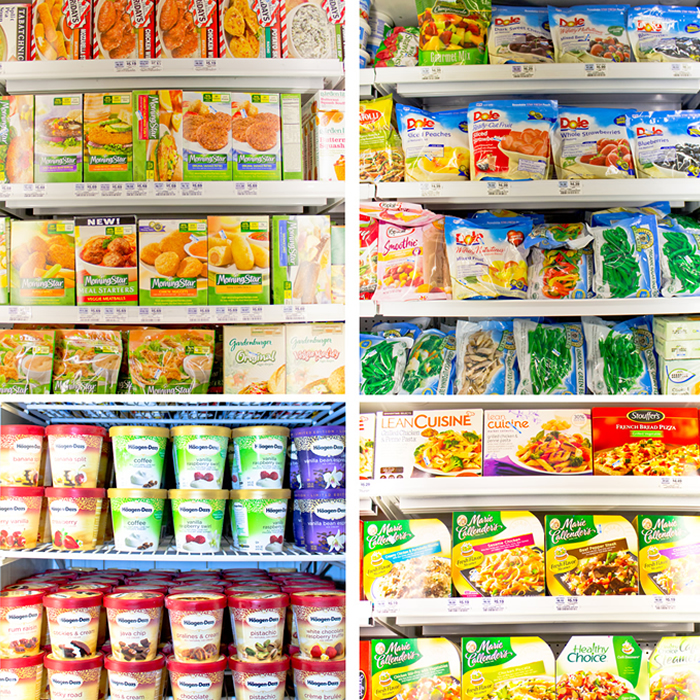 picture of frozen foods in freezer